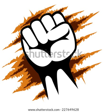 Close up Raised Fist Poster Template on Abstract Design. Emphasizing Power or Revolution - stock vector