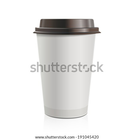 Close up take-out coffee with brown cap. Isolated on white background. Vector Illustration. - stock vector