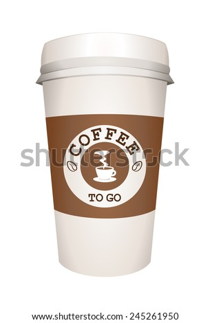 Close up take-out coffee with white cap and brown cup holder. Take out coffe in disposable thermo paper cup with words coffee to go. Vector art image illustration, isolated on white background. eps10