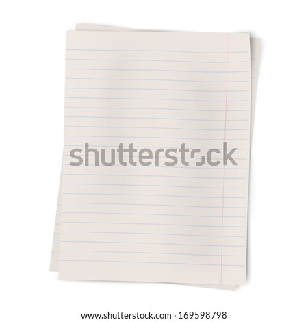 Close up view of two sheets of lined paper lying on each other isolated on white background