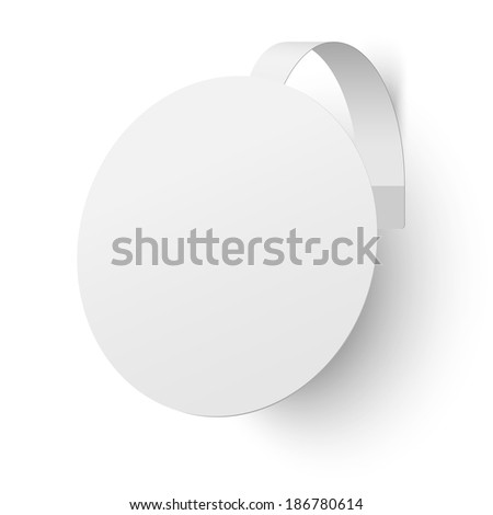 Close up view of white advertising wobbler isolated - stock vector