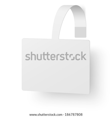 Close up view of white square advertising wobbler - stock vector