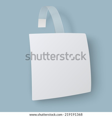 Close up view of white square paper advertising wobbler isolated - stock vector