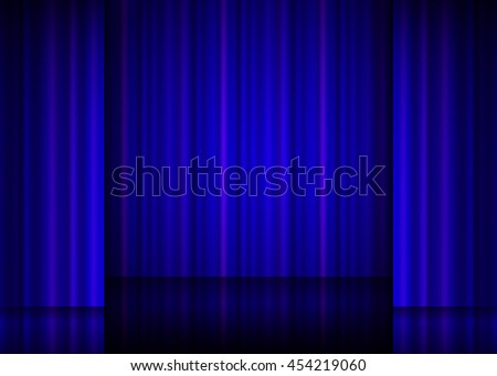Close view of a blue curtain. Vector illustration. - stock vector