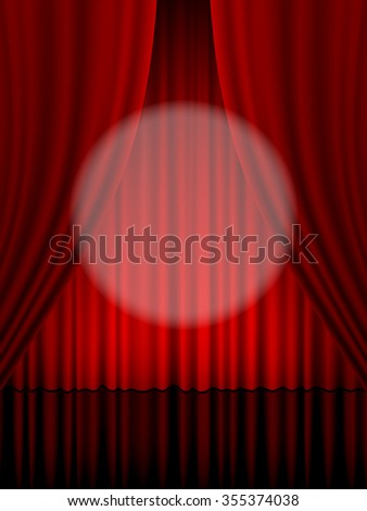 Close view of a red theatre curtain. - stock vector