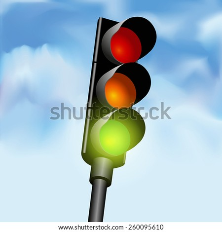 Close view of a traffic light against a sky background. Vector illustration