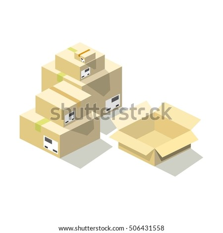 closed and open boxes in isometric