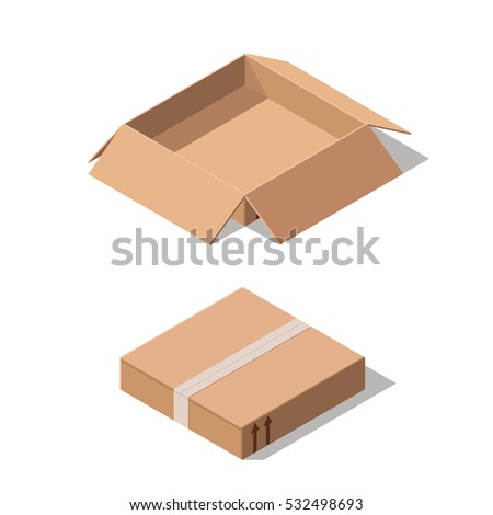 closed white cardboard box. closed and open cardboard box isolated on white background