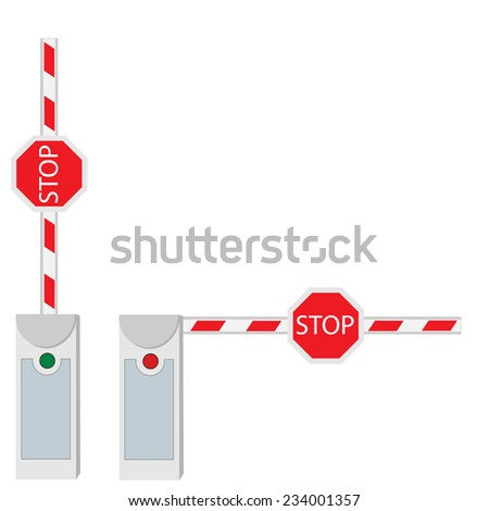 Closed and opened barrier isolated on white vector