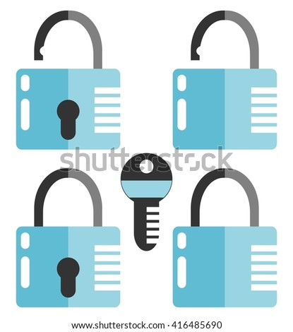 Closed and opened combination locks. Key. Flat design. Isolated on white background - stock vector