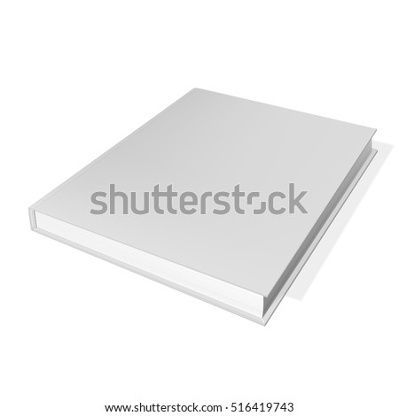 Closed book, cover. Mockup for the cover design. High detail. Isolated on white background.