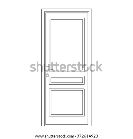 Closed Door Drawing closed door drawing door leaf architectural stock vector 372614923