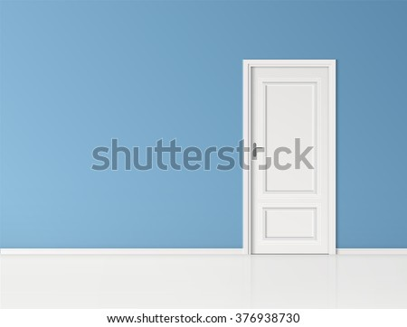 closed door with frame isolated on blue wall background vector design
