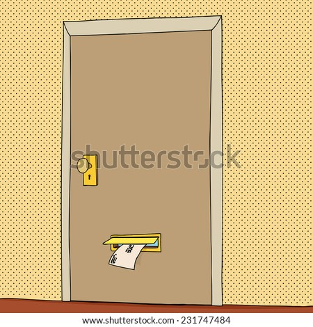 Closed door with letter coming through mail slot - stock vector