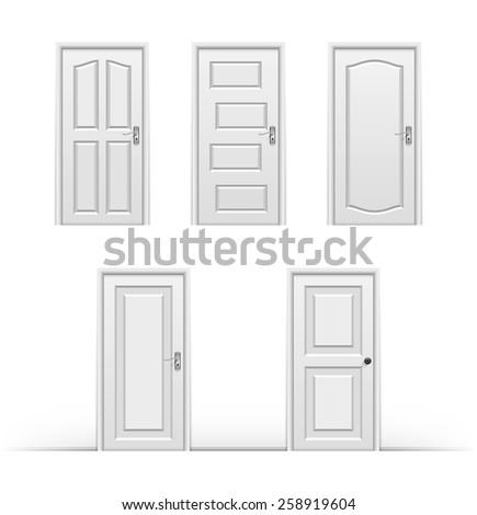 Closed doors set. Vector illustration - stock vector