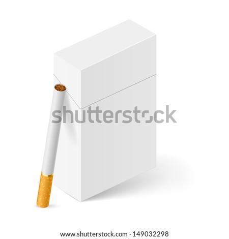 Closed full pack of cigarettes. Illustration on white background - stock vector