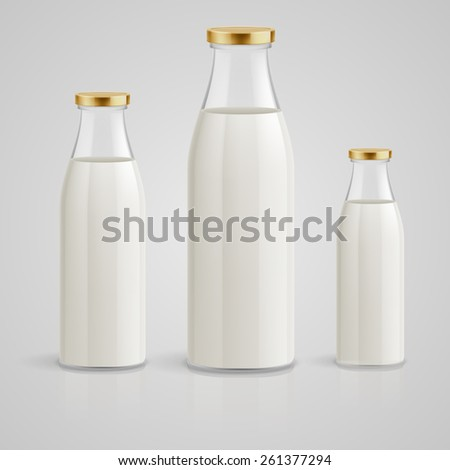 Closed glass bottles of milk on a blue background - stock vector
