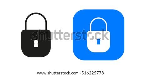 Closed lock icon isolated on background. Minimalistic closed lock. Vector icons for web and mobile applications, web sites and infographics