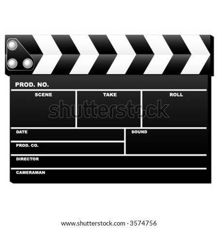 Closed movie clapboard used by movie directors over white background
