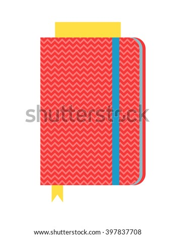 Closed notebook diary and office notebook cover. Spiral notebook and business notebook template. Flat notebook sheet cover organizer. Vector illustration blank empty paper spiral notepad, notebook. - stock vector