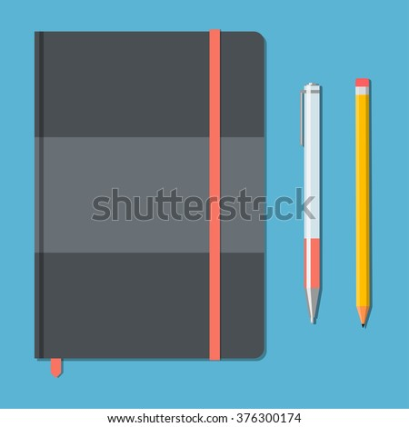 Closed notebook with pencil and pen in top view. Sketchbook or diary. Vector illustration  - stock vector