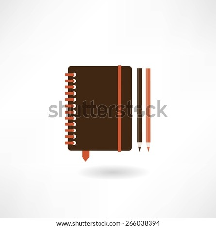 closed notebook with pencil illustration - stock vector