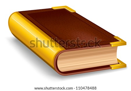 Closed old book in leather cover and with golden decoration. - stock vector
