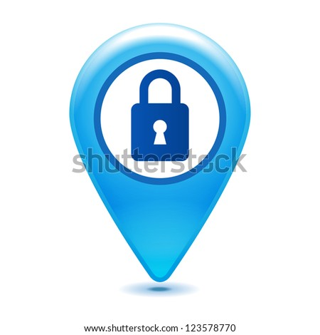 closed padlock pointer icon on a white background - stock vector
