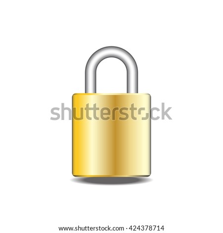 Closed padlock vector - stock vector