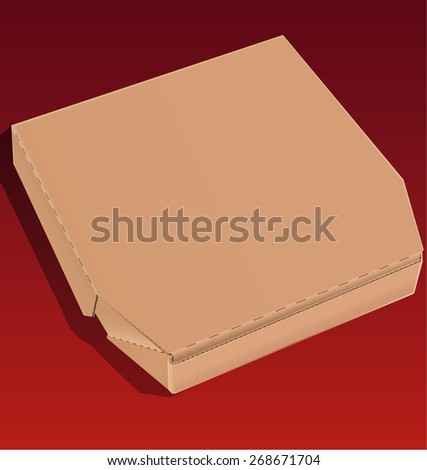Closed pizza box made of cardboard isolated on a red background. - stock vector