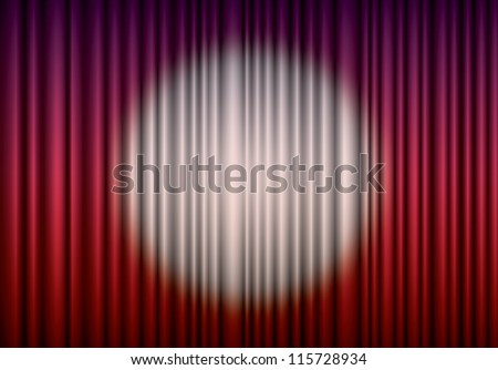 Closed red theater curtain with spotlight in the center, EPS10 - stock vector