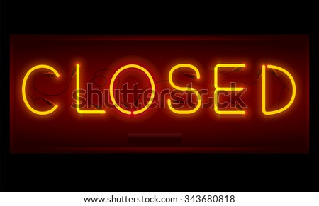 Closed Stock Royalty Free & Vectors #0: stock vector closed sign realistic neon inscription glowing font vector illustration