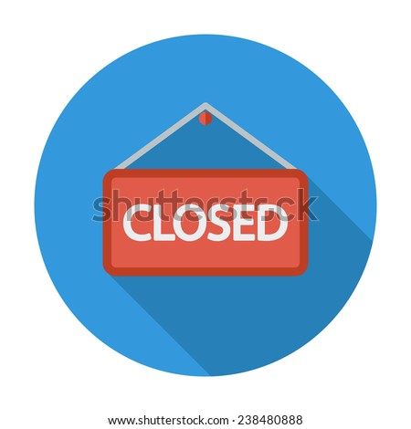 Closed Sign. Single flat color icon. Vector illustration. - stock vector