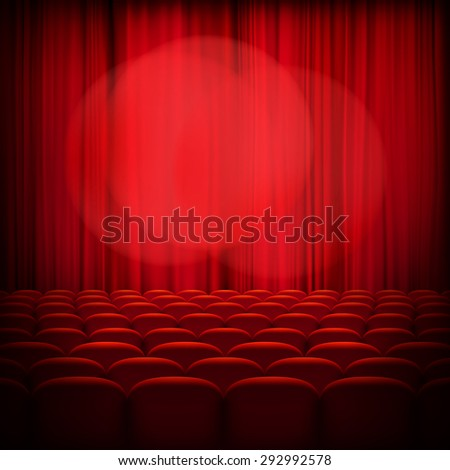 Closed theater red curtains with spotlight and seats. EPS 10 vector file included