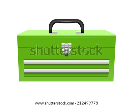 Closed tool box isolated on a white background - stock vector
