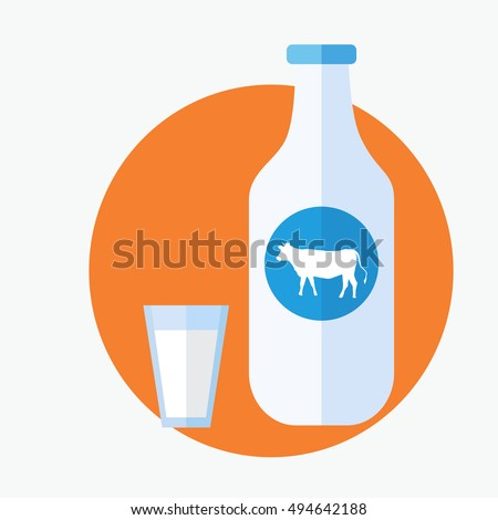 Closed traditional glass bottle of natural milk  isolated