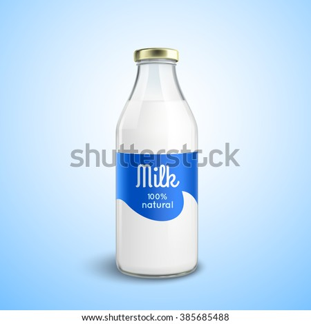 Closed traditional glass bottle of natural milk with glossy cap isolated vector illustration - stock vector