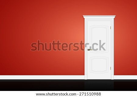 Closed white door on red wall background. Vector - stock vector