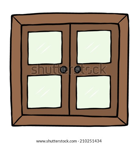 closed wooden window / cartoon vector and illustration, hand drawn ...