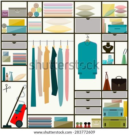 Closet, Wardrobe Inside. Closet. Flat Style Closet, Sliding