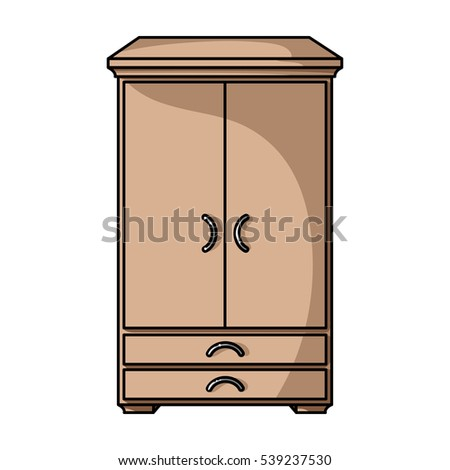 Closet Icon In Cartoon Style Isolated On White Background Furniture And Home Interior Symbol Stock