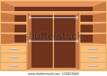 Closet Wardrobe With Shelves And Drawers Empty Cupboard Furniture Interior Design