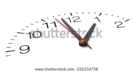 Closeup and from one side view of part of clock face with hands. - stock vector