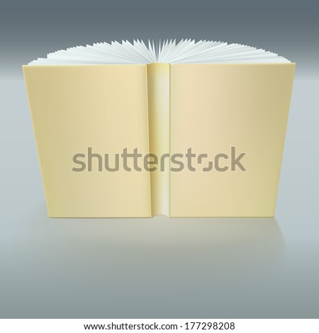 Closeup book cover. Standing open book with pages - stock vector