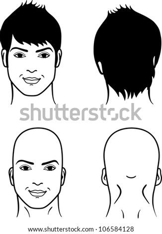 Closeup front, back portrait of a young man smiling on white background - stock vector