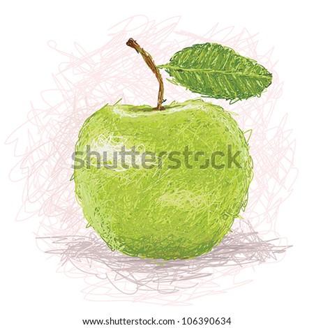 closeup illustration of a fresh green apple fruit. - stock vector