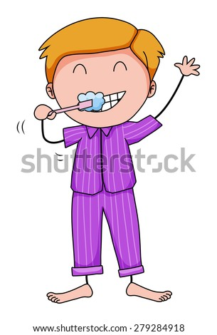 Closeup man in his pajamas brushing teeth - stock vector