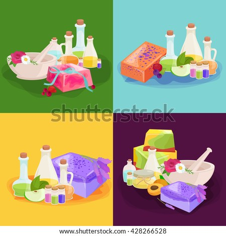 closeup natural soap products set, with organic herbs and flowers, cosmetics hand made soap bar for spa therapy, relax therapy and skin care by natural soap and aroma oils in the bottles  - stock vector
