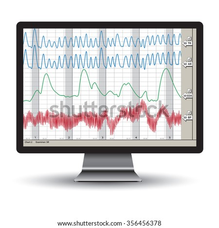 Closeup of a polygraph test chart. Vector illustration - stock vector