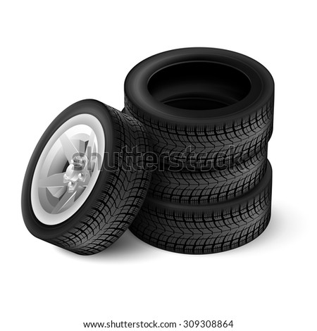 Closeup of four tires with racing rim and black texture